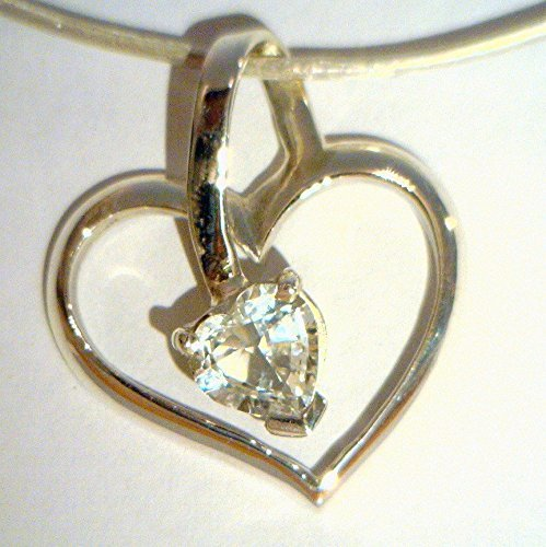 (White Topaz Gemstone Handmade Sterling 925 Silver Ladies Sweet Heart Pendant )