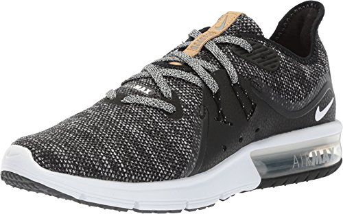 Nike Womens Air Max Sequent 3 Low Top Lace Up, Black/White/Dark Grey, Size 9.0