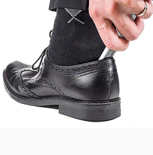 靴べら 携帯用靴べら ステンレス製 ポータブル シューホーン 軽量 耐用 持ち運び便利 無地シルバー