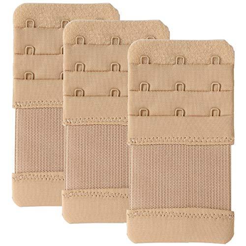 Women Bra Extender 3 Hooks Elastic Stretchy Bra Strap Extenders 3pcs-Pack