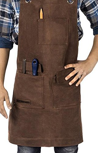 FiLL&Joy Trendy design thickened Waxed Canvas Work Apron with Tool Pockets Lobster Clasps Buckles Cross-Back Straps and Adjustable bands up to XXL for Women & Men. (brown)
