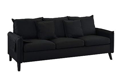 Amazon.com: Modern Living Room Linen Fabric Sofa (Black ...