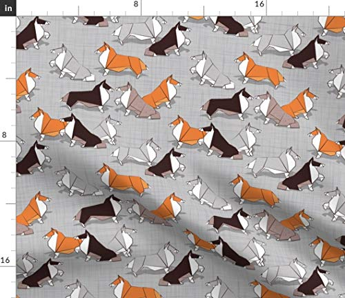 Spoonflower Collies Fabric - Origami Dog Border Collie Gray Orange Collies Year of The Dog Origami Animals Doggies Puppies by Selmacardoso Printed on Kona Cotton Ultra Fabric by The ()