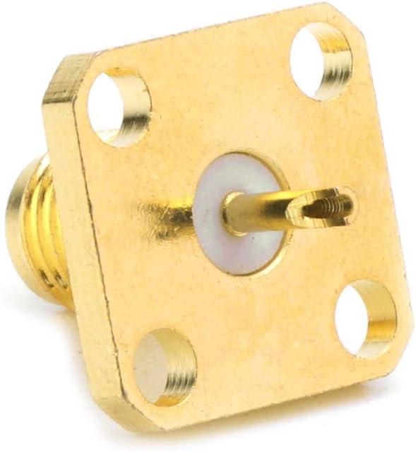 Rtengtunn 10 Piezas SMA Hembra Chasis Montaje en Panel Terminal de 4 Orificios Conector RF Adaptador coaxial 5 mm