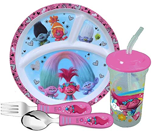 Zak Designs Girl's Trolls Dinnerware Set! Includes Sectioned Plate, Fork, Spoon & Tumbler Cup! Featuring Poppy, DJ Suki, Branch & Guy Diamond! BPA Free, 4pc Set! (Dinnerware Poppy Sets)