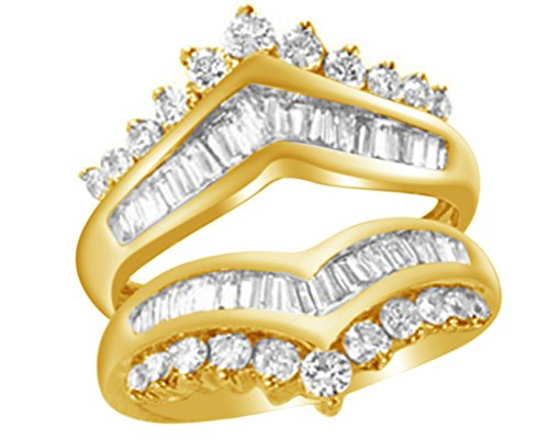 Jewel Zone US Round & Baguette White Natural Diamond Solitaire Enhancer Guard Ring in 14k Solid Yellow Gold (1.25 Ct)