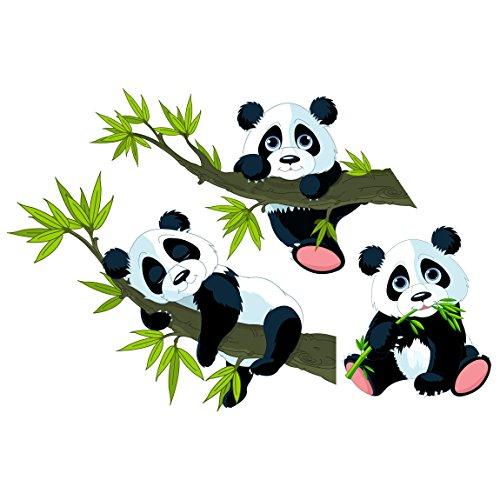 Wall Decal Panda bear set Nursery bear illustration wall tattoo wall stickers wall tattoos wall decals; Dimensions: 26.4 x 39.4 ()