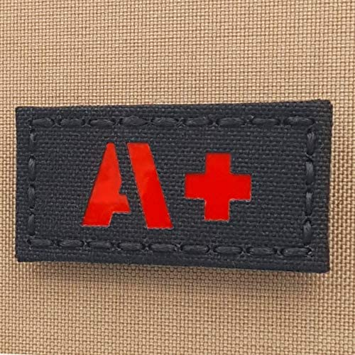 Reflective APOS A+ Blood Type 1x2 First Aid Kit IFAK Tactical Morale Fastener Patch