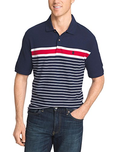 IZOD Men's Short Sleeve Striped Polo Blue X-Large (Izod Striped Polo Shirt)