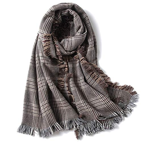 HUIFEI Korean Version of The British Wool Plaid Scarf Female Autumn and Winter Houndstooth Shawl Dual-use Wild Long Paragraph 90200CM (Color : Brown, Size : 90200CM) ()