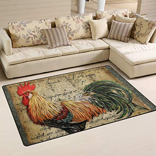 (XiangHeFu Area Rugs Doormats Rooster Bird Animal Art 5'x3'3 (60x39 Inches) Non-Slip Floor Mat Soft Carpet for Living Dining Bedroom Home)