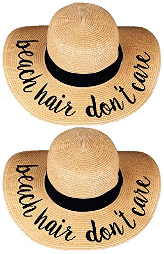 0e738a041 Funky Junque H-2017-BUNDLE-BHDCx2 Embroidered Sun Hat 2 Pack - Beach Hair  Don't Care