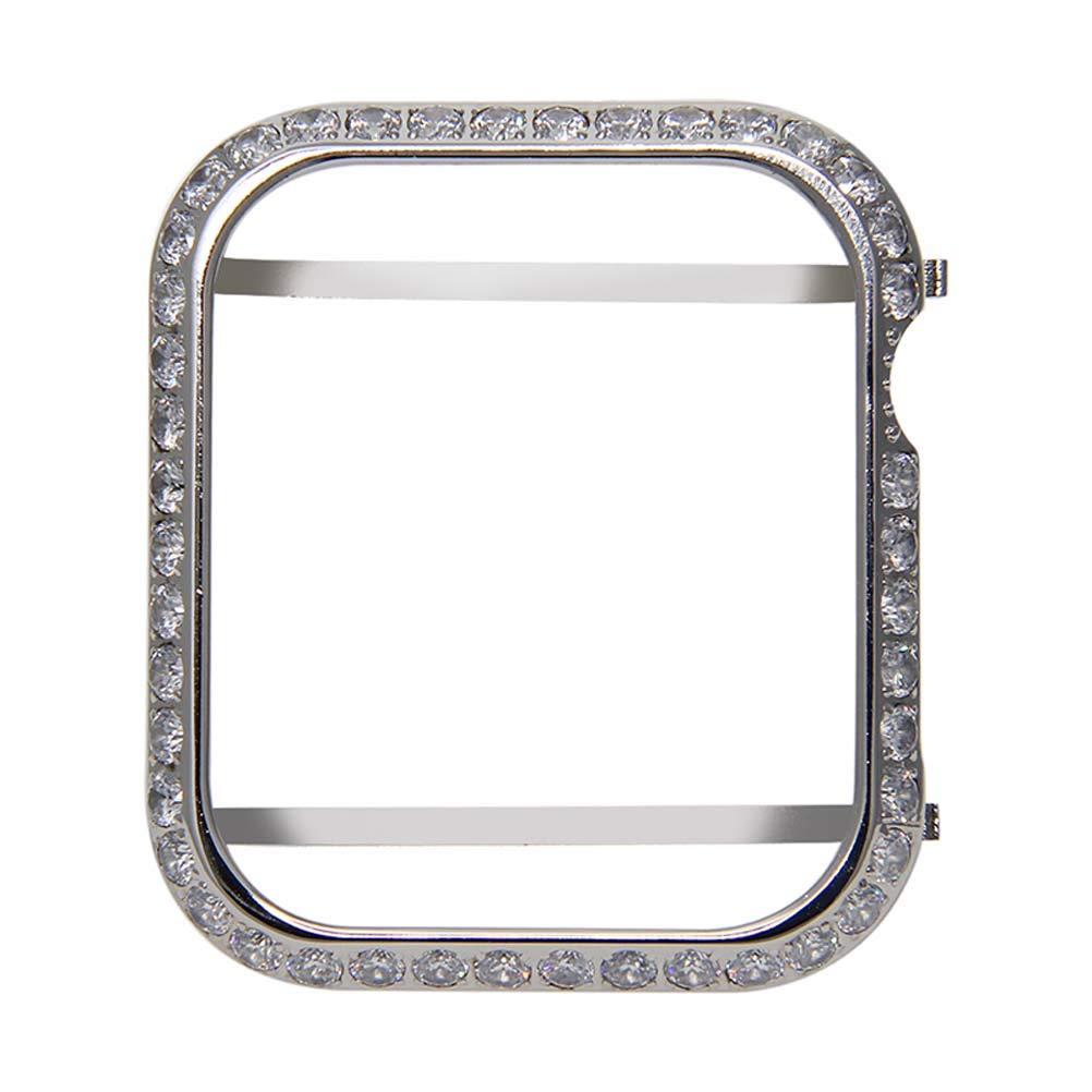 Hemobllo Jewelry Watch Frame for Apple Watch Protector case Crystal Diamonds Frame Watch Cover for Apple iwatch Series 4 Shell 44mm (Silver)
