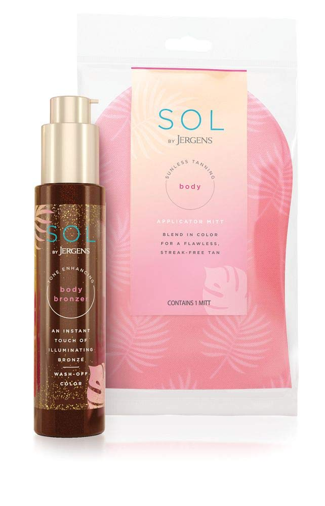 SOL by Jergens Self Tanner Body Bronzer, For All Unique Skin Tones, Sunless Tanning, 3.4 Ounce w/ Self Tanner Applicator Mitt, Flawless, Streak-free Tanning Blender Glove, Sunless Tanning