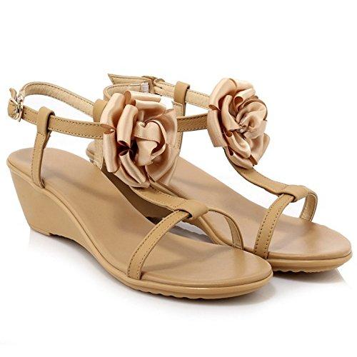 Sandalias de Mujer COOLCEPT Abierta T Flor Albaricoque Tacon Strap Punta con Moda Cuna Zapatos dF8xB8qI