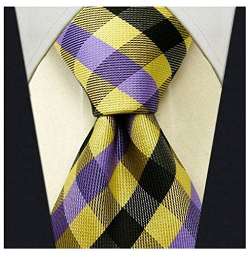 Gingham Plaid Ties for Men - Woven Necktie - Yellow and Purple