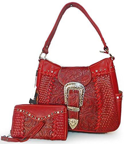 new-trinity-ranch-tooled-leather-hobo-w-wristlet-wallet-red