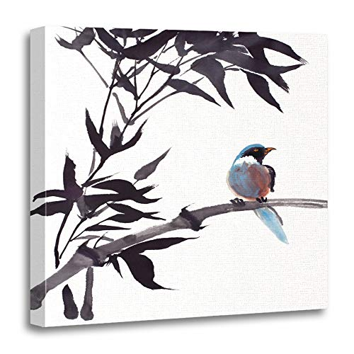 Original Chinese Painting - Emvency Canvas Prints Square 16x16 Inches Blue Chinese Original Watercolor Painting of Bird On Bamboo Colorful Tree Asian Asia Decoration Wooden Frame Pictures Framed Wall Decor