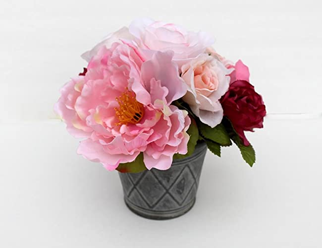 Amazon small peony arrangement spring table centerpiece silk small peony arrangement spring table centerpiece silk flower arrangement mothers day gift summer mightylinksfo