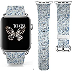 3C-LIFE Apple Watch/Apple Watch 2 Band 38mm,COLOR DECAL IWATCH BAND Replacement Band Genuine Leather iWatch Strap With Silver Metal Clasp-- BLUE VALENTINE 4