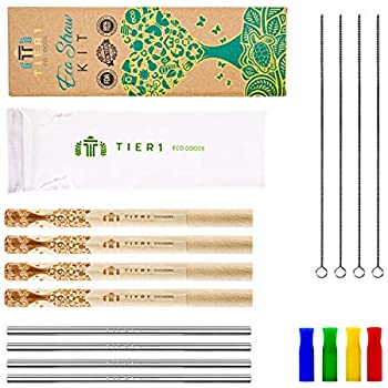 Reusable Metal Stainless Steel Straws With Case FDA Approved - 4 Custom  Made Wooden Case
