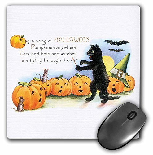 3dRose BLN Vintage Halloween - Vintage Sing a Song of Halloween Black Cat Bats and Jack O Lantern Pumpkins - MousePad (mp_126093_1) -