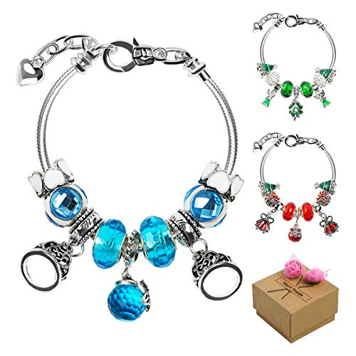HolySpirit DIY Bracelet Making Kits, Self-Made Jewelry Chain, Silver Plated Hand Chain, Charming Bracelet with 45 Pearl Beads, Rainbow Chain, Birthday Gifts for Girls