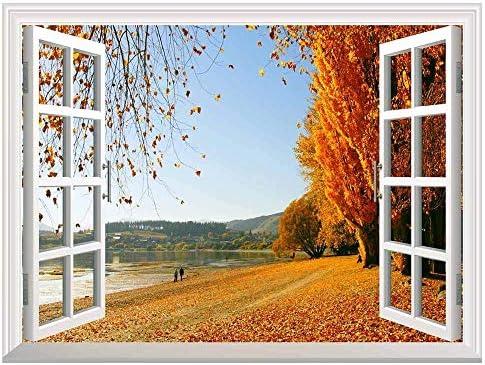 Autumn Golden Fallen Leaves Open Window Mural Wall Sticker - 24