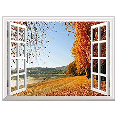 Autumn Golden Fallen Leaves Open Window Mural Wall Sticker 36