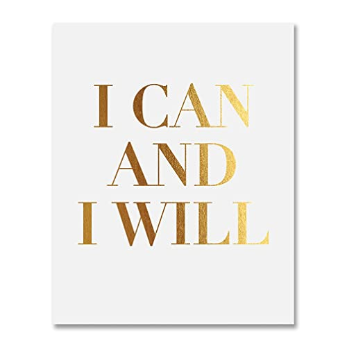 Amazon.com: I Can And I Will Gold Foil Decor Home Wall Art Print