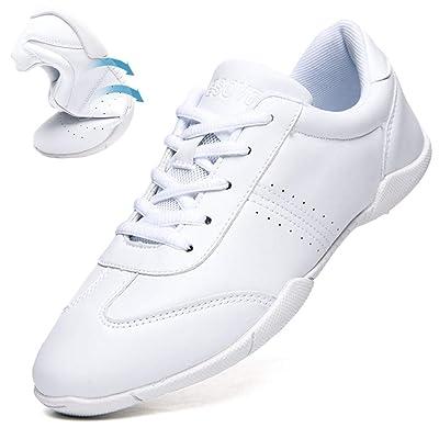 DADAWEN Women's Celebration Shoes Training White Cheerleading Shoes | Team Sports