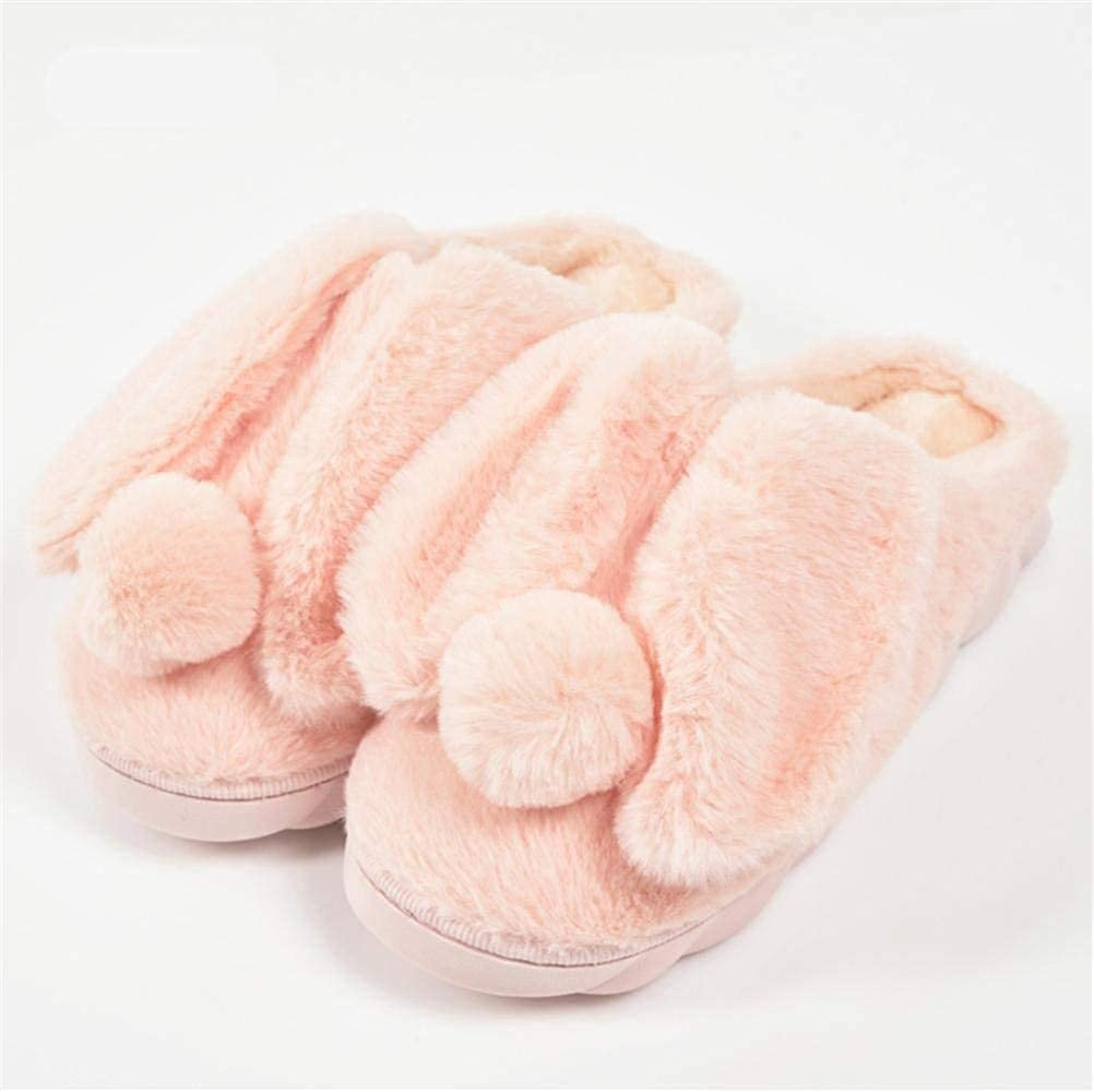 3 JaHGDU Indoor Home Ladies Casual Fall and Winter Light Pink bluee Keep Warm Slippers Plush Cartoon Rabbit Cotton Slippers
