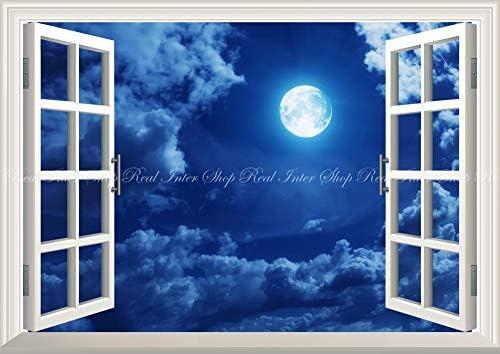 絵画風 壁紙ポスター (はがせるシール式) -窓の景色- 月 スーパームーン Super Luna 満月の夜 天体 神秘 癒し 【窓仕様/トリックアート】 キャラクロ MON-008MA2 (A2版 594mm×420mm) 建築用壁紙+耐候性塗料