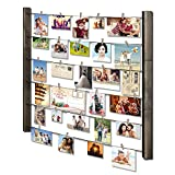RooLee Wood Picture Frame Collage for Multi Photo Display Wall Decor 30'' x 26 with 36 Clips - Vertical & Horizontal Display(Grey)