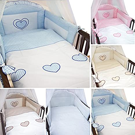 6 Piece Embroidered Baby Bedding Sets to fit Cot & Cotbed - (Cot Bed 140 x 70cm, Hearts Pink) Babycomfort