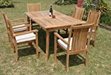 Grade-A Teak Wood Luxurious Dining Set Collections: 7 pc – 94″ Double Extension Rectangle Table And 6 Cahyo Stacking Arm Chairs #TSDSCH4 Review