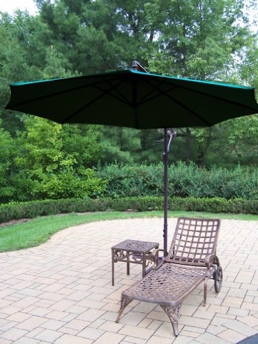 Oakland Living Elite Cast Aluminum 1 Chaise Lounge with 18-Inch Side Table and 10-Feet Cantilever Umbrella