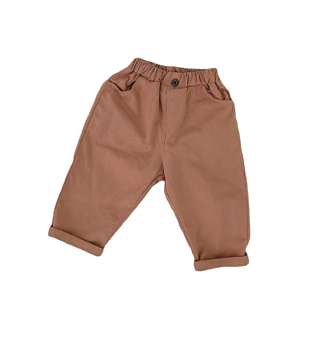 YULEgowinner Girls Boys All-Match Cotton Trousers Pure Color Cute Pants
