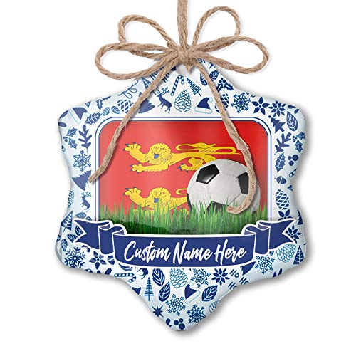 NEONBLOND Custom Tree Ornament Soccer Team Flag Basse-Normandie Region France with Your Name (Basses Handmade Custom)