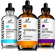 """""""For those firmly committed to turning back time on their skin, ArtNaturals' Anti-Aging Serum Set gets the gold medal. The three serums used in combination enhance and energize the renewal effects on skin. 20 Percent Vitamin C Serum diminishe..."""