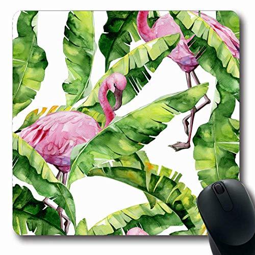 Mousepads Flamingo Watercolor Tropical Leaves Dense Jungle Oriental Banana Palm Hawaii Green Pattern Floral Non-Slip Gaming Mouse Pad Rubber Oblong Mat