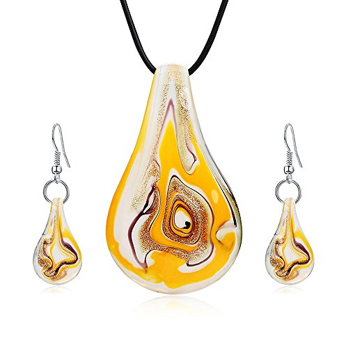 Jardme Jewelry Sets Screw-Type Murano Inspiration Mix Twisted Lampwork Glass necklace (Murano Glass Necklace Earrings)