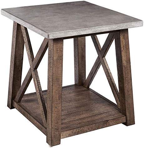 Pulaski Concrete Top Industrial Farmhouse Brown 22.00 W D x 24.00 H End Table