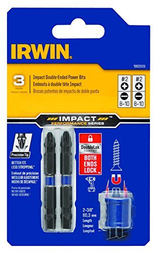 2 Double End Screw Bit (IRWIN 1903509 Impact Performance Series Double-Ended Screwdriver Power Bit, Number 2 Phillips and 8-10 Slotted, 2 3/8-Inch, 3-Piece)