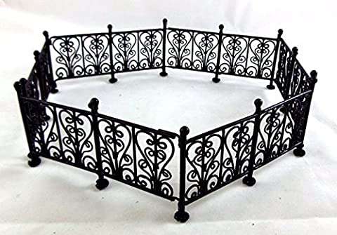 Town Square Miniatures Doll House Miniature Garden Furniture Black Wire Wrought Iron Fence Railings