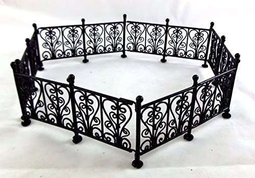 Town Square Miniatures Doll House Miniature Garden Furniture Black Wire Wrought Iron Fence Railings ()