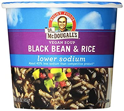 DR. McDOUGALL'S RIGHT FOODS Vegan Lower Sodium Black Bean and Rice Soup, 1.6-Ounce (Pack of 6) from Dr. McDougall's Right Foods
