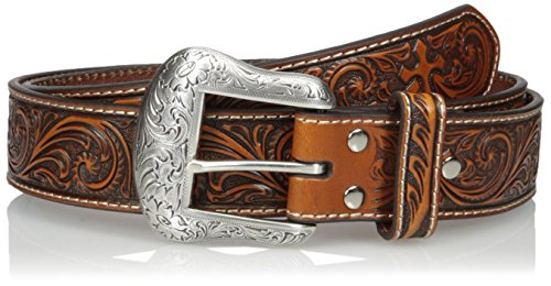 Nocona Belt Co. Men's Cross Embosed Floral, Tan, 40