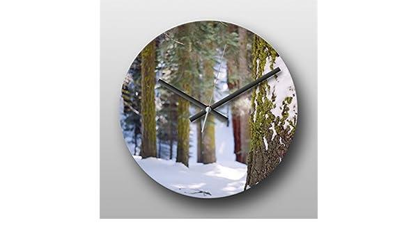 Reloj de pared Sequoia bosque nieve - grande Circular de cuarzo reloj impreso, sin manos yogabox headphonemate, regalo Ideal, único del arte, obras de arte, ...