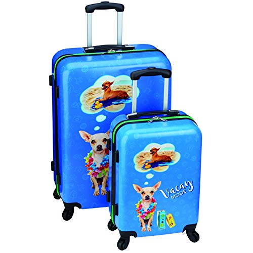 2 Piece Luggage Set - Dog 'Vacay Mode' Lightweight Hardside Spinner Suitcases